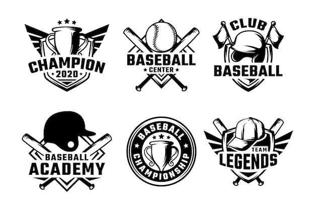 Set honkbal badges etiketten, emblemen en logo Premium Vector