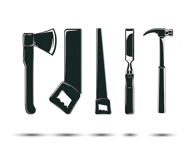 Set houtbewerking tools, zagerij en timmerwerk en houthakker elementen voor vintage logo ontwerp, zwart-wit pictogrammen, Premium Vector