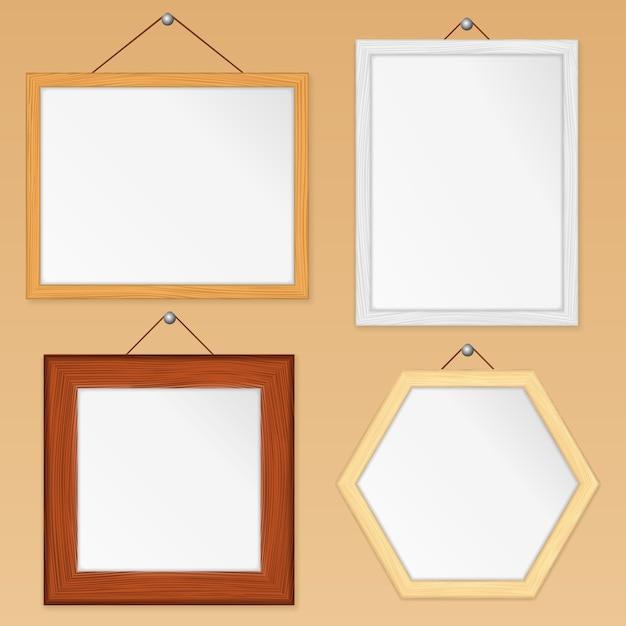 Set houten frames Premium Vector