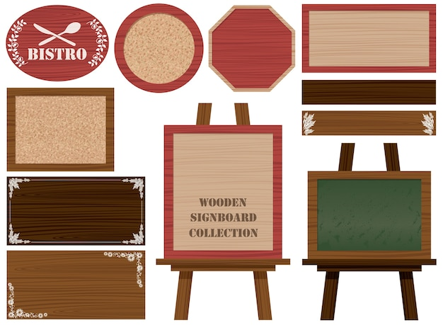 Set houten uithangborden en frames geïsoleerd op een witte. Gratis Vector