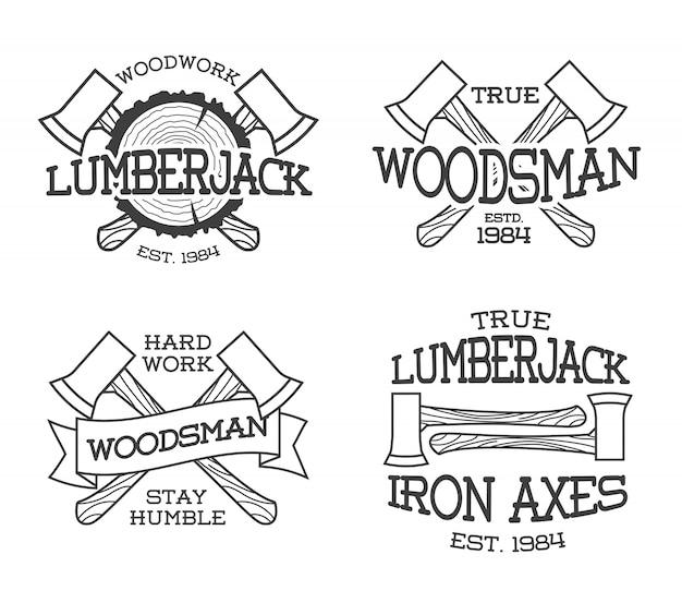 Set houthakker en houthakker labels Premium Vector