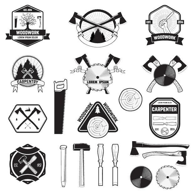Set houtwerk en timmerwerk labels en logo's. Premium Vector