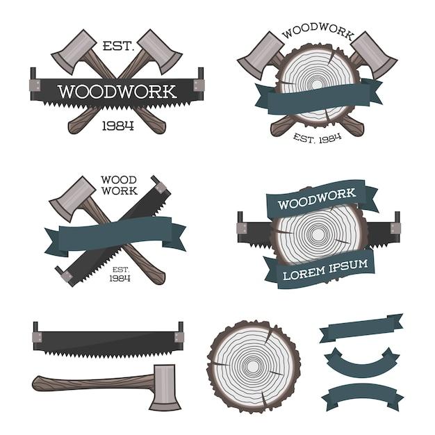 Set houtwerk logo's met zaag, bijl en boom ring Premium Vector