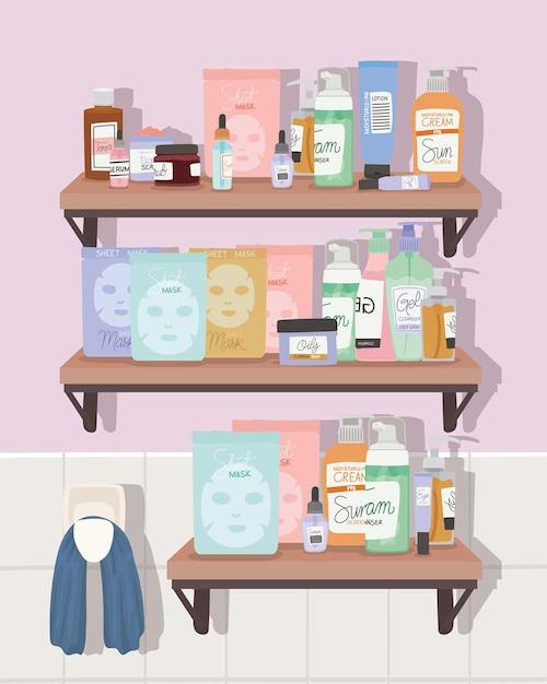 Set huidverzorgingselementen op een plank in een badkamer Premium Vector