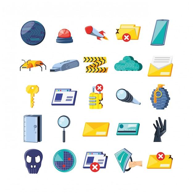 Set iconen van cyberbeveiliging Premium Vector