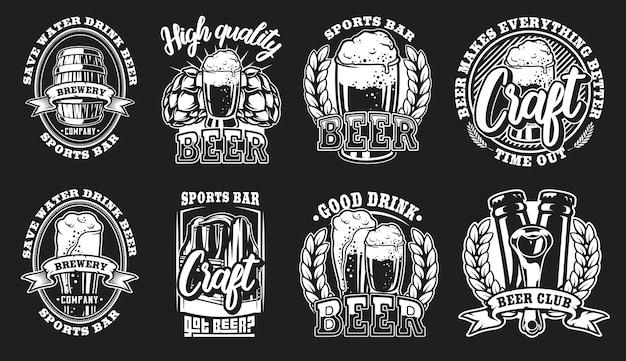 Set illustraties van bierlogo's voor een donkere achtergrond. Premium Vector
