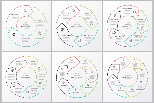 Set infographic dunne lijn ontwerp met cirkelvormige pijlen. kan gebruikt worden voor fietsdiagram, grafiek, presentatie en ronde grafiek. bedrijfsconcept met 4 opties, onderdelen, stappen of processen. Premium Vector
