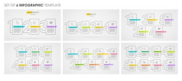 Set infographic dunne lijn ontwerp met pictogrammen en 3, 4, 5, 6, 7, 8 opties of stappen. bedrijfsconcept. Premium Vector