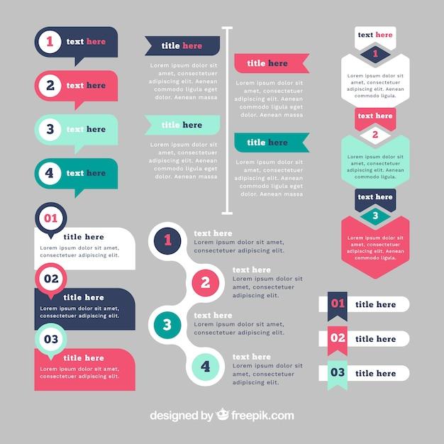 Set infographic elementen met verschillende kleuren Gratis Vector