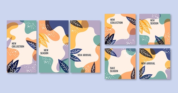 Set instagram-berichten en verhalen met florale versieringen Gratis Vector