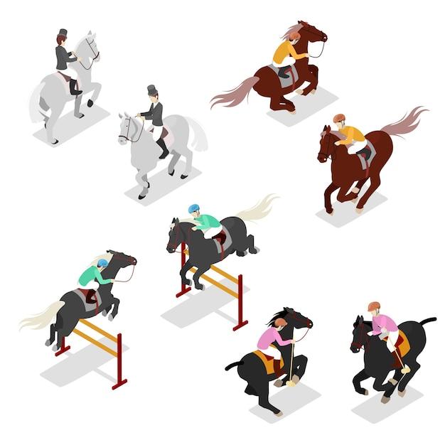 Set isometrische paardensport Premium Vector