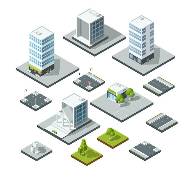 Set isometrische stad landschap ontwerpelementen. 3d constructor Premium Vector
