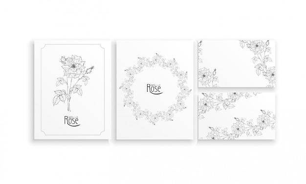 Set kaarten en visitekaartjes met grafische bloemstukken met bloemen van rozen Premium Vector