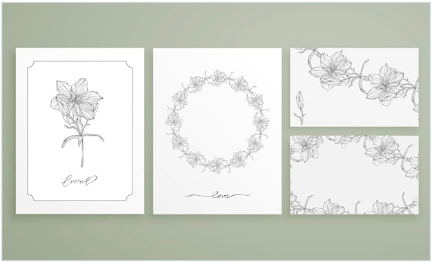 Set kaarten en visitekaartjes met grafische bloemstukken Premium Vector