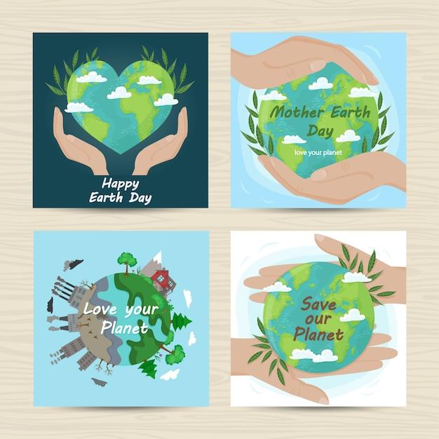 Set kaarten voor moeder aarde dag Premium Vector