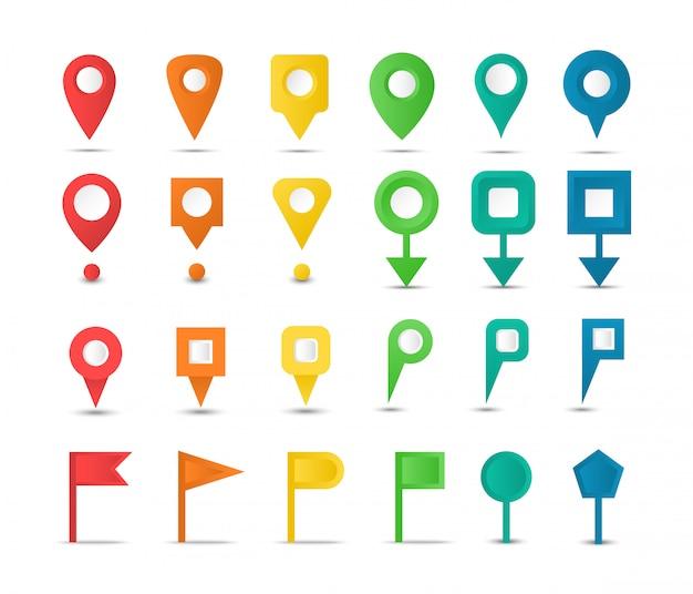 Set kaartmarkeringen en kleurrijke pointers. navigatiekaart pinnen. collectie gps-pictogrammen. Premium Vector
