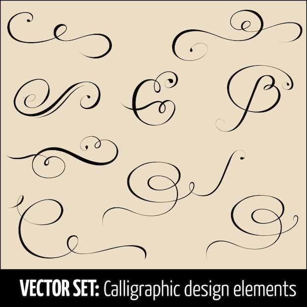 Set kalligrafische en pagina-decoratie ontwerpelementen. Gratis Vector