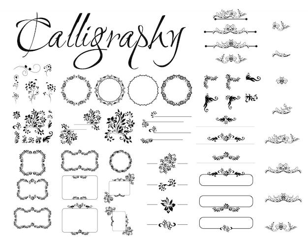 Set kalligrafische ontwerpelementen, pagina-decor, scheidingslijnen en sierlijke hoofddeksels. rome stijl kalligrafie. Gratis Vector