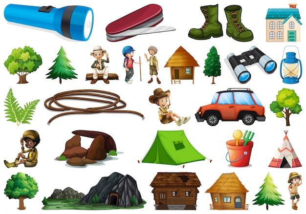 Set kampeerelement Premium Vector