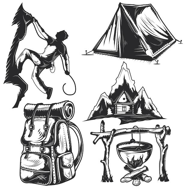 Set kampeerelementen voor het maken van uw eigen badges, logo's, labels, posters etc. Gratis Vector