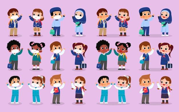 Set karakters van verschillende schooluniformen met masker en zonder masker Premium Vector