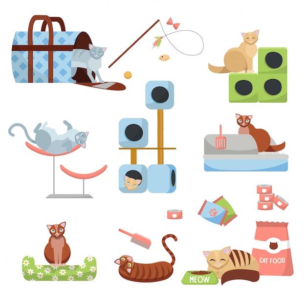Set kattenaccessoires katten: krabpaal, huis, bed, eten, toilet, pantoffel, drager en speelgoed met 8 katten Premium Vector