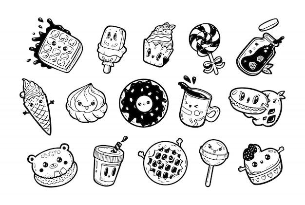 Set kawaii cartoon stijl doodle sweety karakters. verzameling van emoticon gezicht pictogrammen snoepwinkel. hand getekend zwarte inkt illustratie geïsoleerd op een witte achtergrond. Premium Vector