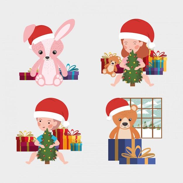 Set kerst speelgoed en kinderen Premium Vector