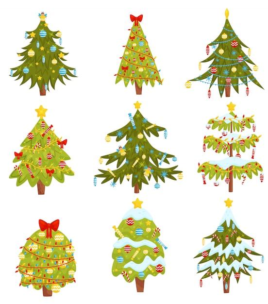 Set kerstbomen met verschillende decoraties. thema wintervakantie Premium Vector