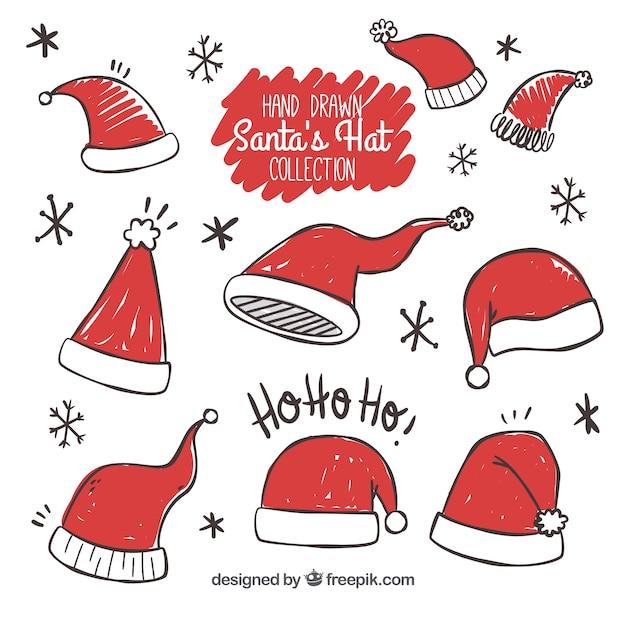 Set kerstmuts hoeden Gratis Vector