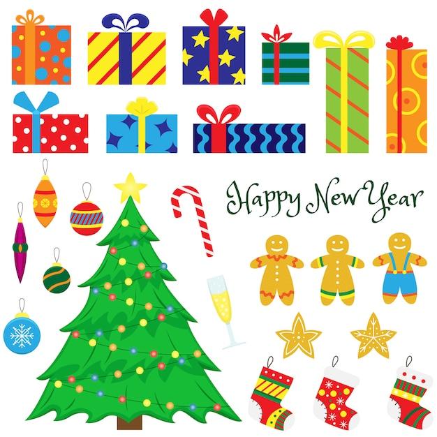 Set kerstversiering-kerstbomen, kerstspeelgoed, geschenken, peperkoek, sokken voor geschenken. cartoon illustraties. Premium Vector