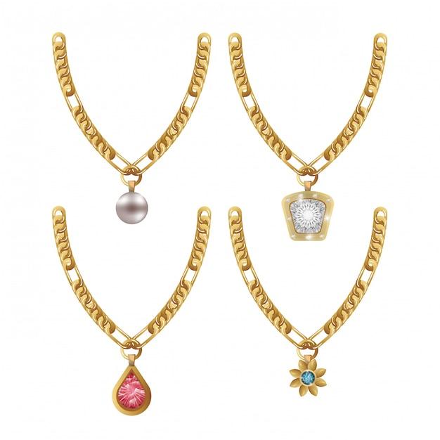 Set ketting edelstenen sieraden geïsoleerd Premium Vector