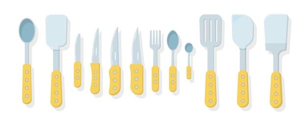 Set keukengerei geïsoleerd op een witte achtergrond. pictogrammen in vlakke stijl. veel houten keukengereedschap, keukengerei, bestek. keukengerei collectie. Premium Vector