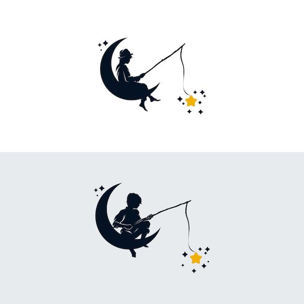 Set kind vissen in de maan logo ontwerpsjabloon Premium Vector