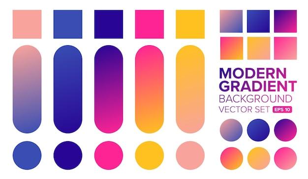 Set kleurovergang kleuren illustratie Premium Vector