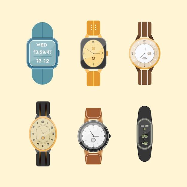 Set klokken geïsoleerd op een witte achtergrond. polshorloge. man en vrouw digitale en klassieke horloges collectie in plat design. Premium Vector