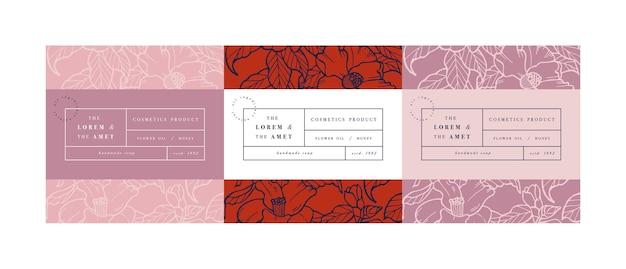 Set klompen voor cosmetica met label sjabloonontwerp. Premium Vector