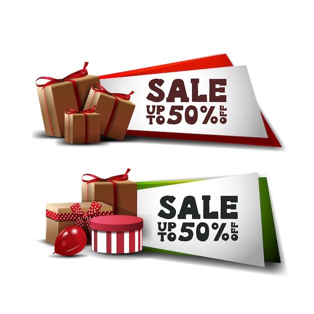 Set kortingsbanners met geschenken geïsoleerd op wit Premium Vector