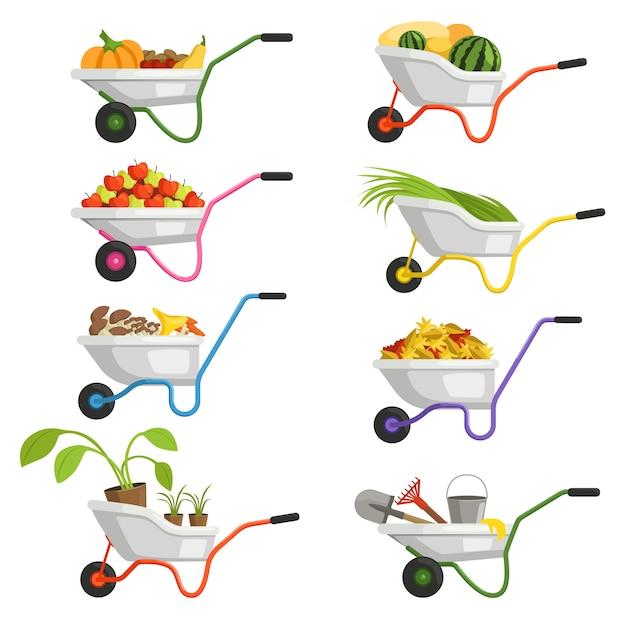 Set kruiwagens met verschillende soorten groenten en fruit Premium Vector