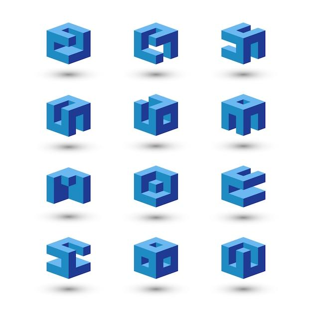 Set kubusvormen. abstracte logo sjablonen. Premium Vector