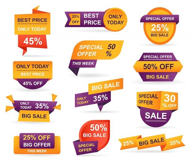 Set labels voor de verkoop in de detailhandel. stickers beste aanbiedingsprijs en grote verkoop Premium Vector