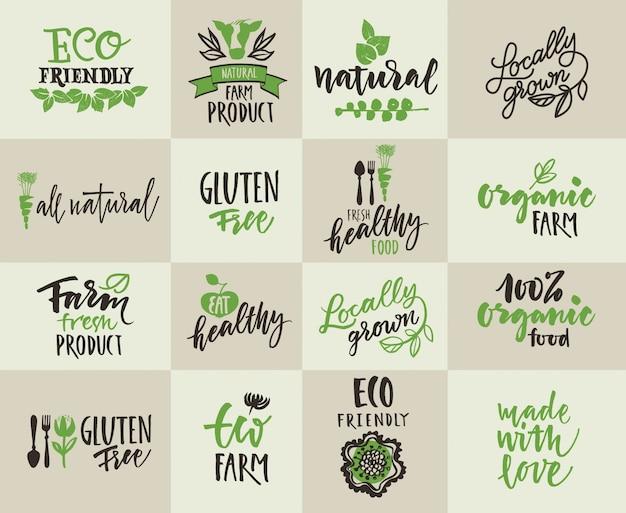 Set labels voor natuurlijke landbouw Gratis Vector