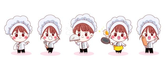 Set lachende schattige chef-kok in verschillende houdingen cartoon afbeelding Gratis Vector