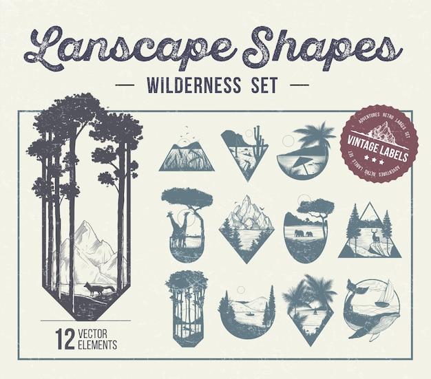 Set landschapsvormen, pictogrammen of labels. vector illlustration Premium Vector