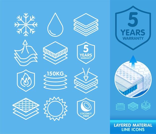 Set lijnpictogrammen voor schematische weergave van gelaagde materialen Premium Vector