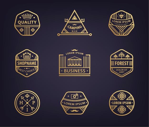 Set lineaire logo sjablonen en badges met verschillende hipster retro badges, pictogrammen voor het bedrijfsleven. premium, hoogwaardige abstracte geometrische logo's Premium Vector