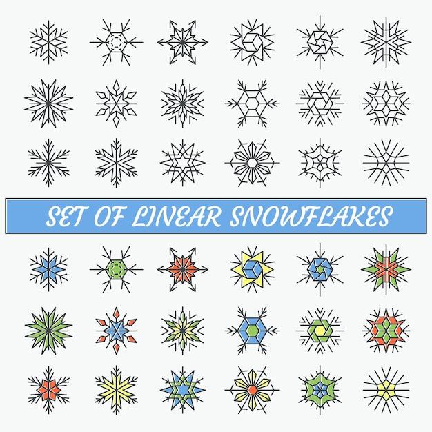 Set lineaire sneeuwvlokken, lege lijn en kleurcontourobjecten. Premium Vector