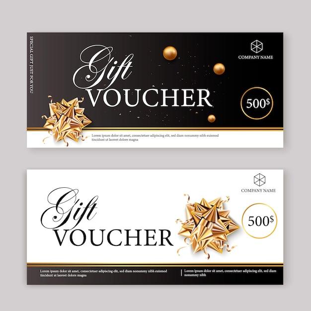 Set luxe cadeaubonnen met linten en geschenkdoos. elegante sjabloon voor een feestelijke cadeaubon Premium Vector