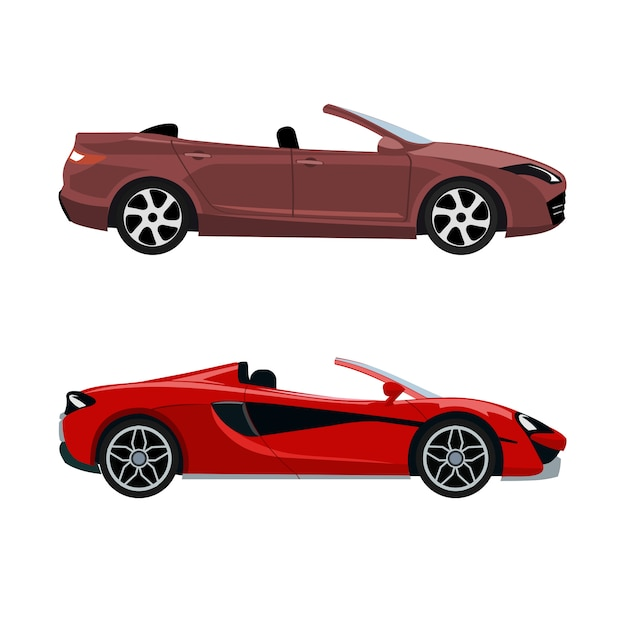 Set luxe moderne cabriolets Premium Vector