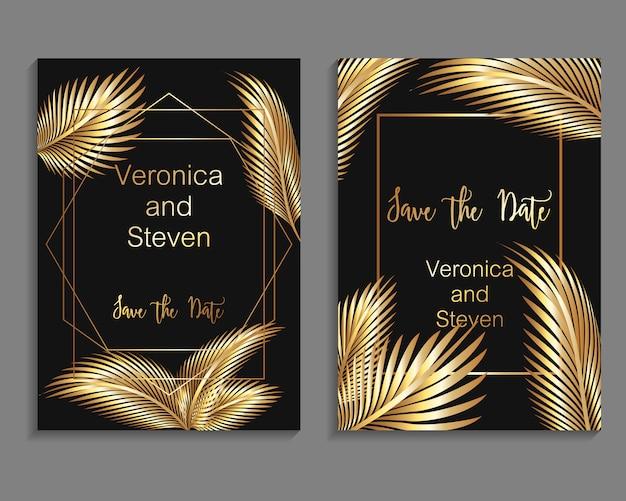 Set luxe omslagsjablonen. vector dekkingsontwerp voor huwelijksuitnodiging Premium Vector